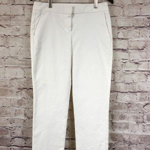 St. Tropez West White Textured Cropped Ankle Pants